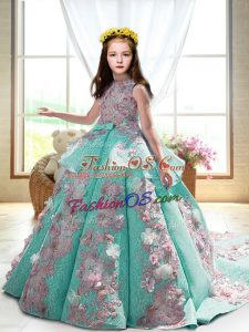 Sleeveless Court Train Appliques Backless Little Girl Pageant Dress