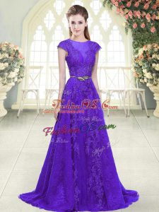 Customized Purple A-line Lace and Appliques Evening Dress Zipper Tulle Cap Sleeves