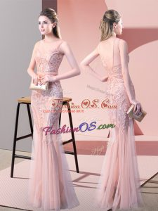 Fine Pink Backless Homecoming Dress Sequins Sleeveless Floor Length