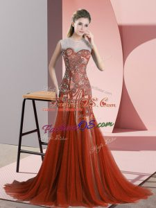 Backless Dress for Prom Rust Red for Prom and Party and Military Ball with Beading Sweep Train