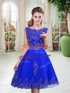 Spectacular Scoop Sleeveless Prom Gown Knee Length Beading and Appliques Royal Blue Tulle