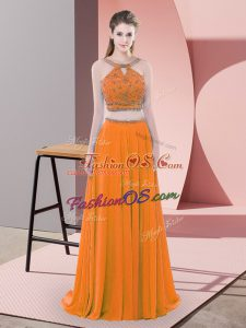 Traditional Beading Prom Party Dress Orange Backless Sleeveless Sweep Train