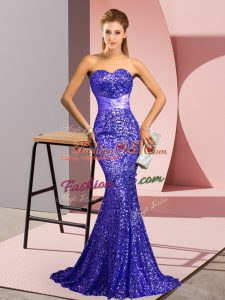 Lavender Sequined Zipper Sweetheart Sleeveless Homecoming Dress Sweep Train Beading