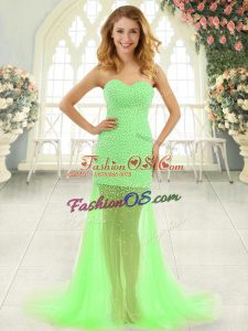 Extravagant Sweetheart Sleeveless Brush Train Zipper Tulle