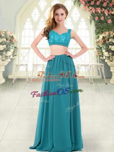Smart Teal Straps Zipper Beading and Lace Evening Dress Sleeveless