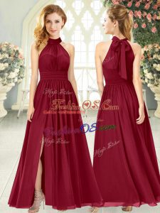 Ankle Length Zipper Homecoming Dress Wine Red for Prom and Party with Ruching
