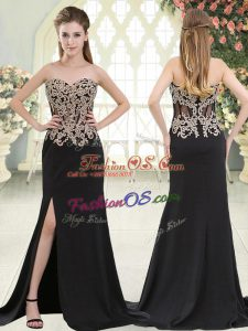 Flare Sleeveless Elastic Woven Satin Sweep Train Zipper Dress for Prom in Black with Beading and Appliques