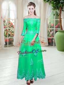 Charming Floor Length Turquoise Prom Gown Tulle 3 4 Length Sleeve Lace