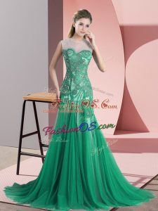 Green Backless Prom Gown Beading and Appliques Sleeveless Sweep Train