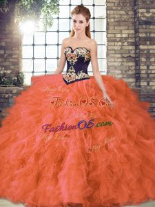 Sweetheart Sleeveless Vestidos de Quinceanera Floor Length Beading and Embroidery Orange Red Organza