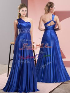 High End Royal Blue Sleeveless Floor Length Beading and Ruching Backless Prom Party Dress