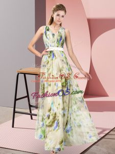 Stylish Multi-color Sleeveless Pattern Floor Length Dress for Prom