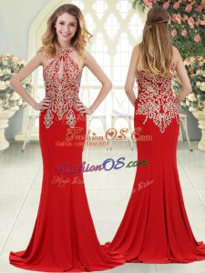 Halter Top Sleeveless Elastic Woven Satin Evening Dress Beading and Lace Sweep Train Zipper