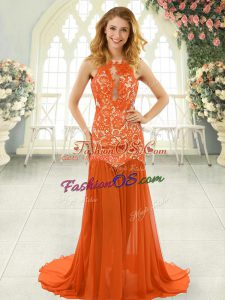 Free and Easy Backless Homecoming Dress Orange Red for Prom and Party with Lace Brush Train