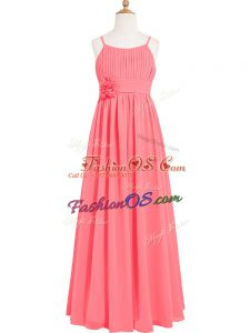Watermelon Red Scoop Neckline Pleated and Hand Made Flower Prom Dresses Sleeveless Zipper