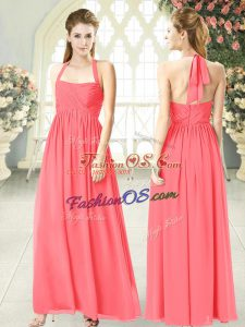 Watermelon Red Sleeveless Chiffon Zipper for Prom and Party