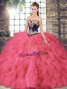 Affordable Hot Pink Sleeveless Tulle Lace Up Ball Gown Prom Dress for Sweet 16 and Quinceanera