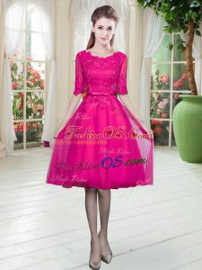 Fuchsia Lace Up Homecoming Dress Lace Half Sleeves Knee Length