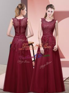 Exquisite Burgundy Tulle Zipper Prom Party Dress Sleeveless Floor Length Lace and Appliques and Belt