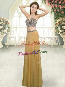 Chiffon Sleeveless Floor Length Custom Made and Beading