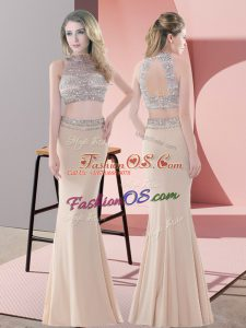 Floor Length Champagne Custom Made High-neck Sleeveless Backless