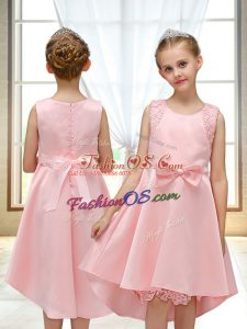 Gorgeous Pink Satin Zipper Flower Girl Dresses for Less Sleeveless High Low Lace and Bowknot