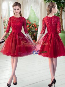 Admirable Lace Wine Red Zipper Half Sleeves Knee Length