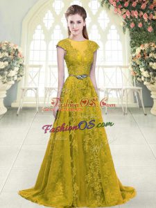 Elegant Gold A-line Beading and Lace and Appliques Party Dress Wholesale Zipper Tulle Cap Sleeves
