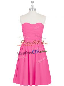 Fantastic Sleeveless Mini Length Ruching and Pleated Zipper Homecoming Dress with Hot Pink