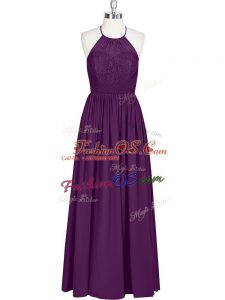 Eggplant Purple Halter Top Zipper Lace Prom Evening Gown Sleeveless
