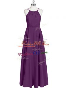 Beautiful Eggplant Purple Zipper Straps Ruching Chiffon Sleeveless