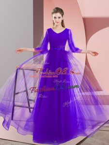 Suitable Purple V-neck Neckline Beading Homecoming Dress Long Sleeves Zipper