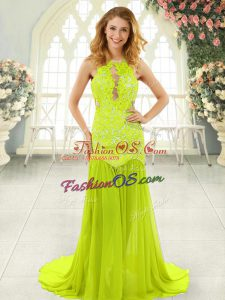 Scoop Sleeveless Dress for Prom With Brush Train Lace Yellow Green Chiffon