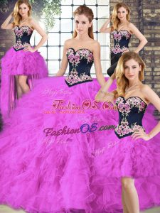 Floor Length Fuchsia Sweet 16 Dress Sweetheart Sleeveless Lace Up