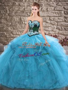 Floor Length Lace Up Sweet 16 Dresses Blue for Sweet 16 and Quinceanera with Beading and Embroidery