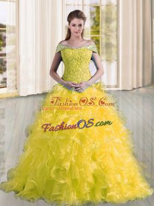 Cute Sleeveless Sweep Train Lace Up Beading and Lace and Ruffles Quinceanera Gowns