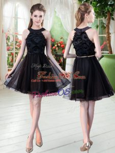 High Quality Black Sleeveless Tulle Zipper for Prom and Party