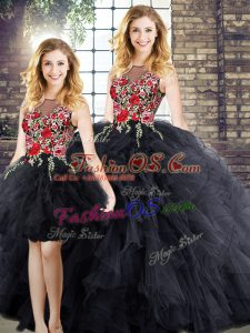 Black Zipper Scoop Embroidery and Ruffles Sweet 16 Dress Sleeveless