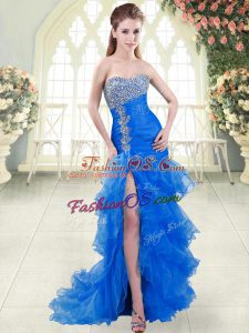 Blue Organza Lace Up Sweetheart Sleeveless Prom Dress Sweep Train Beading and Ruffled Layers