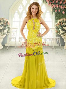 Brush Train Mermaid Prom Party Dress Yellow Scoop Chiffon Sleeveless Backless
