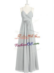Floor Length Grey Dress for Prom Spaghetti Straps Sleeveless Backless