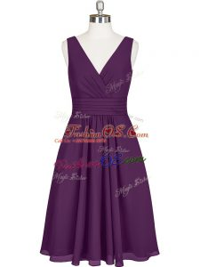 Charming Knee Length Zipper Dress for Prom Purple for Prom and Party and Military Ball with Pleated
