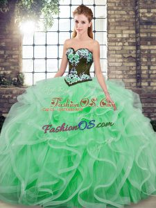Superior Apple Green Sleeveless Sweep Train Embroidery and Ruffles 15th Birthday Dress