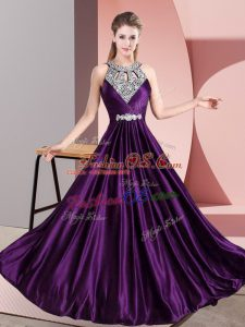 Excellent Halter Top Sleeveless Prom Party Dress Floor Length Beading Purple Satin