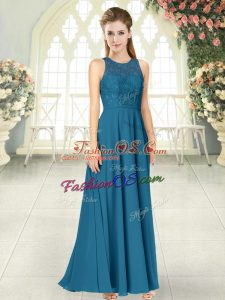 Lace Prom Dress Teal Backless Sleeveless Floor Length