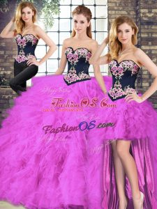Fuchsia Tulle Lace Up Sweetheart Sleeveless Floor Length Vestidos de Quinceanera Beading and Embroidery