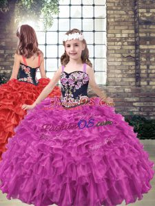 Fuchsia Sleeveless Embroidery and Ruffled Layers Floor Length Little Girl Pageant Gowns