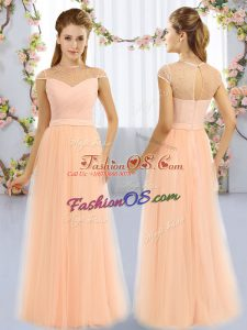 Tulle High-neck Cap Sleeves Zipper Beading Dama Dress in Peach