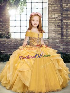 Sleeveless Lace Up Floor Length Beading and Ruffles Kids Formal Wear