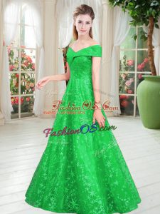 Popular Green Lace Lace Up Prom Gown Sleeveless Floor Length Beading